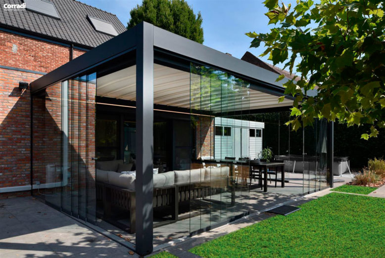 pergola de techo horizontal replegable