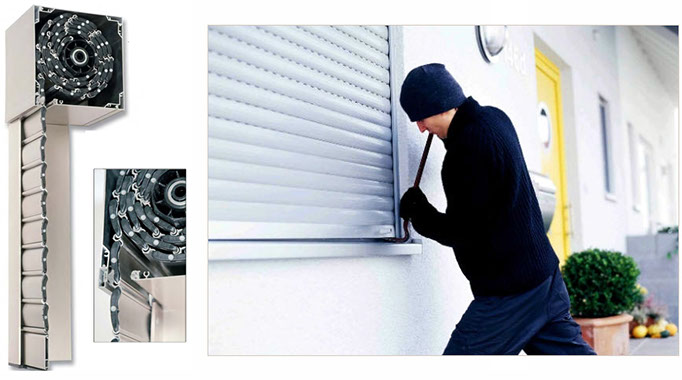 Auto-locking security rolling shutters