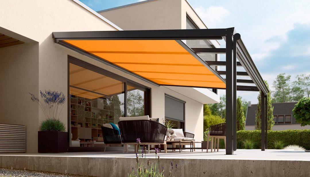 toldos veranda bajo estructura cristal
